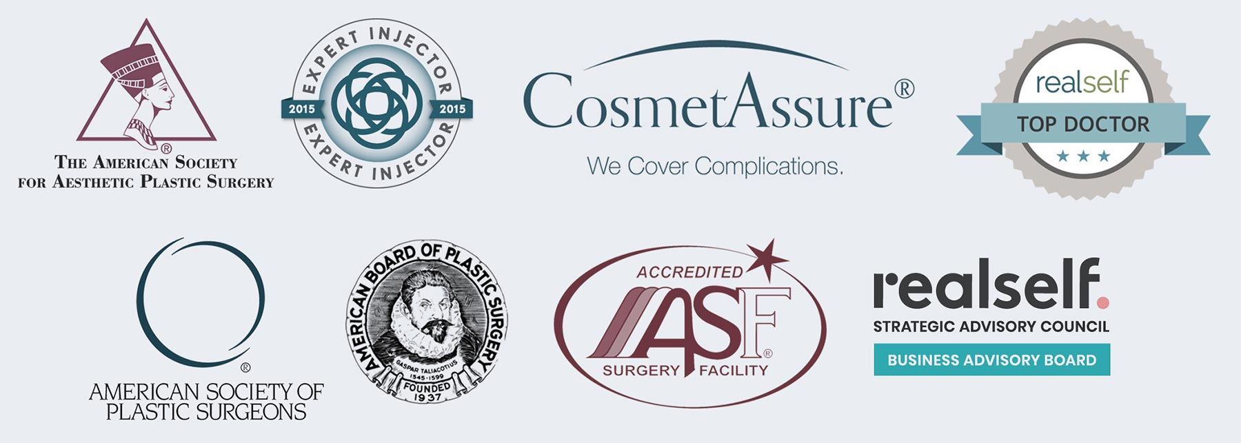 Associate Logos: Expert Injector 2015, CosmetAssure®, RealSelf Top Doctor 2019, American Society of Plastic Surgeons, American Board of Plastic Surgery, ASF